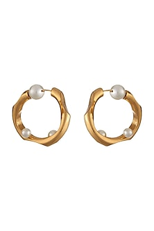 Gold Plated Pearl Hoop Earrings by Outhouse-JEWELLERY AS GIFTS