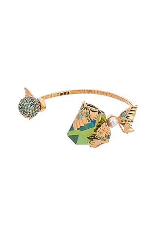 Gold Plated Swarovski Crystal Handcuff by Outhouse