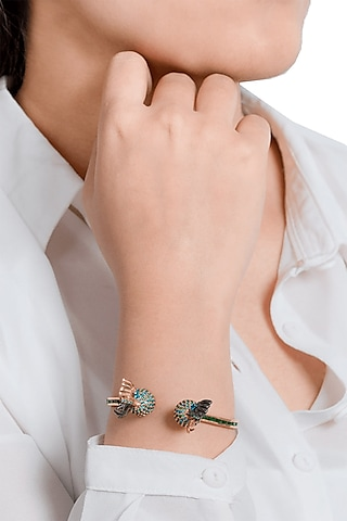 Gold Plated Crystal Handcuff by Outhouse