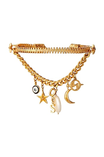 Gold Plated Handcrafted Pearl Motifs Bracelet by Outhouse