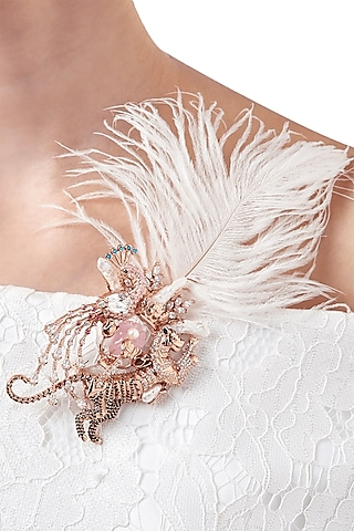Rose Gold Plated Pearl & Swarovski Crystal Brooch by Outhouse