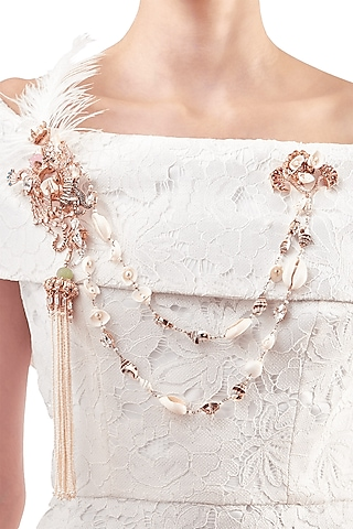 Rose Gold Plated Pearl Double Pin Brooch by Outhouse