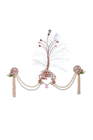 Rose Gold Finish Pearl & Swarovski Crystal Brooch by Outhouse