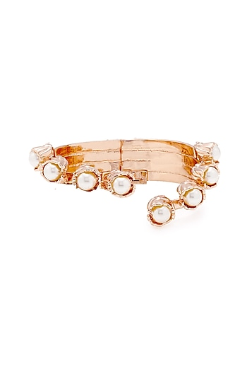 Rose Gold Plated Handcrafted Pearl Cuff Bracelet by Outhouse