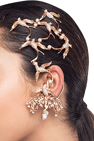 Rose Gold Plated Swarovski Pearl Ear Cuffs by Outhouse