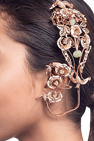 Rose Gold Plated Ear Cuffs With Swarovski Pearl by Outhouse