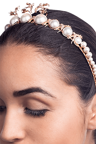 Rose Gold Plated Pearl & Swarovski Headband by Outhouse