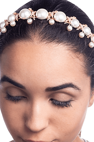 Rose Gold Plated Pearl & Swarovski Crystal Headband by Outhouse