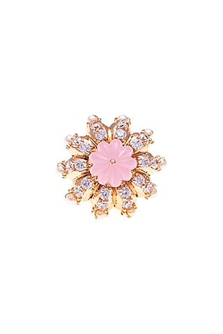 Rose Gold Plated Pearl Button by Outhouse