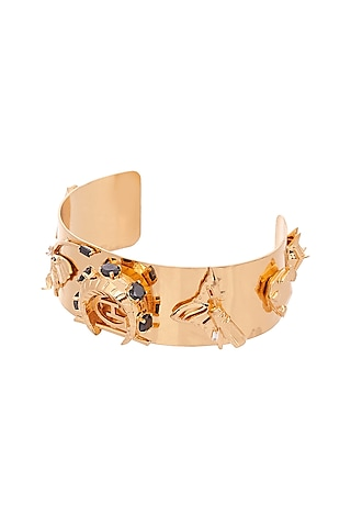 Gold Plated Handcrafted Half Wrist Cuff With Onyx Stones by Outhouse