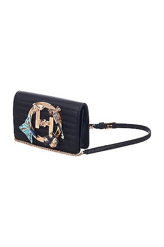 Gold Plated Motifs Bag With Crystals by Outhouse