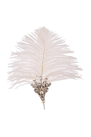 Silver Finish Whimsical Feather Brooch by Outhouse