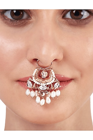 Rose Gold Plated Swarovski & Pearl Nose Ring by Outhouse