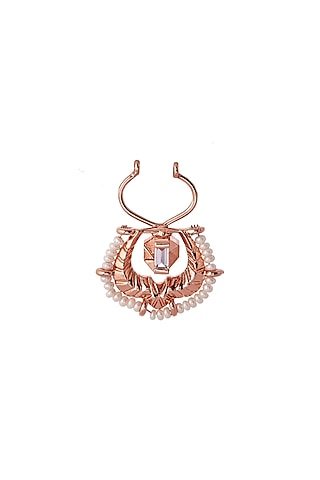 Rose Gold Plated Swarovski Crystal & Pearl Nose Ring by Outhouse