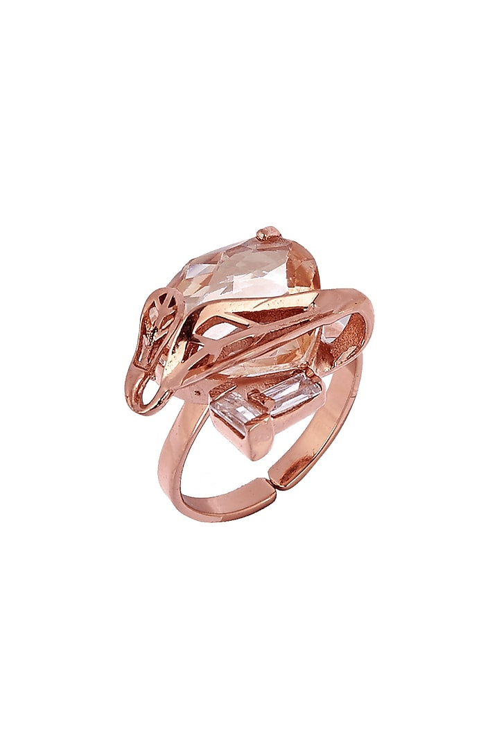 Rose Gold Plated Swarovski Crystals Ring by Outhouse