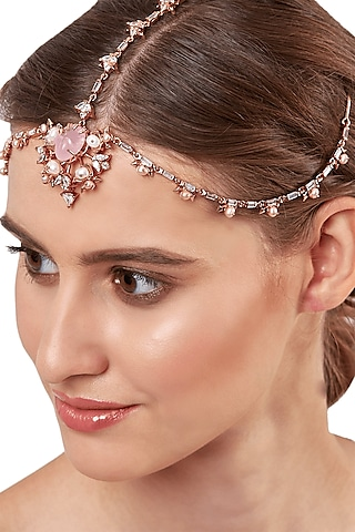 Rose Gold Plated Pearls Headgear by Outhouse