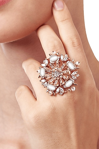 Gold Plated Pearls Midi Ring by Outhouse