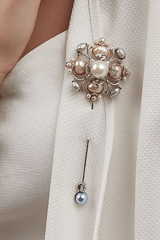 Silver Finish Pearls Brooch by Outhouse