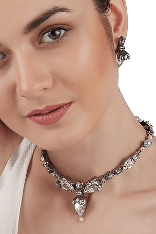 Gun Metal Finish Pearl Necklace by Outhouse