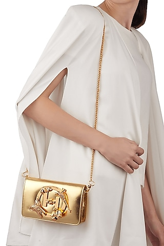 Gold Finish Handcrafted Sling Bag by Outhouse