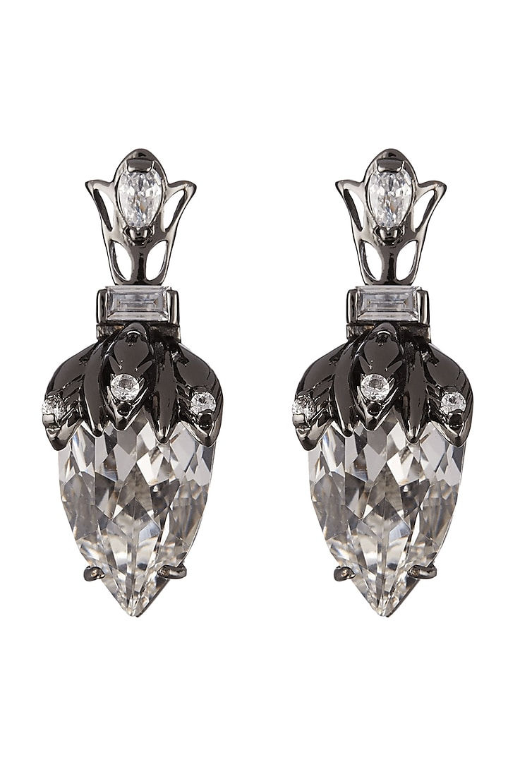 Gun Metal Finish Swarovski Crystals Handcrafted Stud Earrings by Outhouse