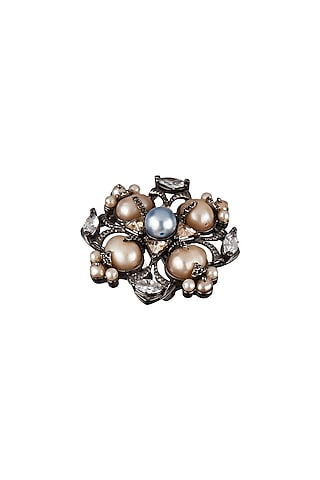Gun Metal Finish Pearl Ring by Outhouse