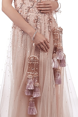 Rose Gold Finish Pearl Hand Harness by Outhouse