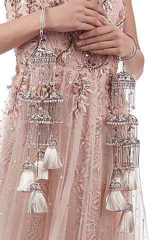 Rose Gold Finish Hand Harness With Pearls by Outhouse