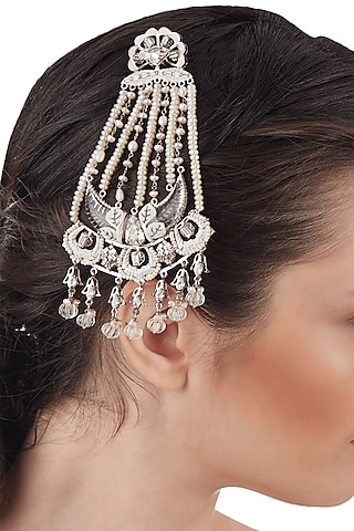 Silver Finish Swarovski & Pearl Head Piece by Outhouse