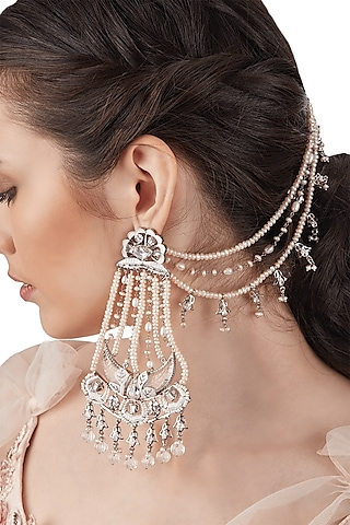 Silver Finish Pearls & Swarovski Crystals Earrings by Outhouse
