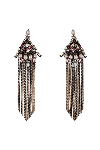 Gun Metal Finish Swarovski Crystals Earrings by Outhouse