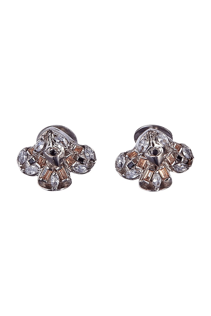 Silver Finish Swarovski Crystals Handcrafted Buttons by Outhouse
