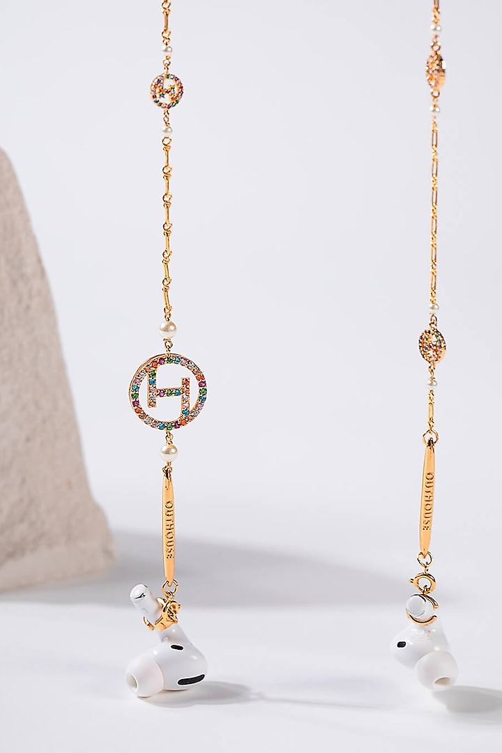 Gold Plated Embellished Optical Chain by Outhouse
