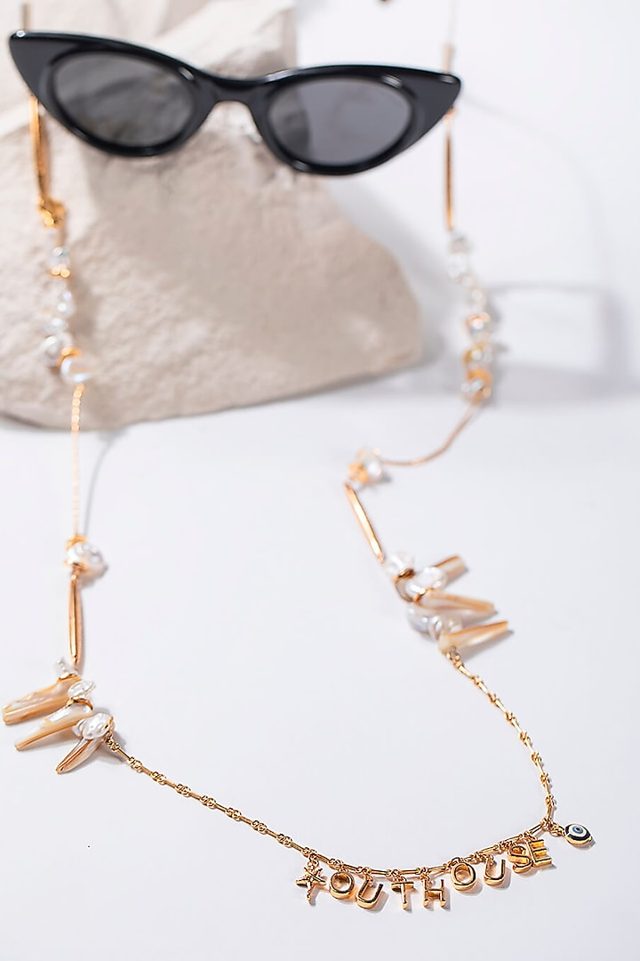 Gold Plated Baroque Pearls Optical Chain by Outhouse