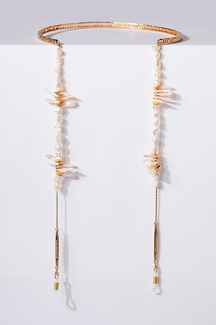 Gold Plated Handcrafted Optical Chain In Brass by Outhouse