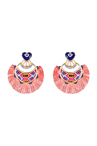 Rose Gold Plated Handwoven Earrings by Outhouse