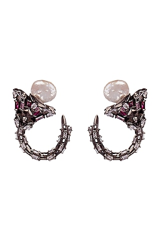 Black Rhodium Finish Noir Earrings With Swarovski Pearl by Outhouse