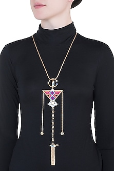 Gold Plated Multi Colored Bohemian Long Chain Necklace by Outhouse