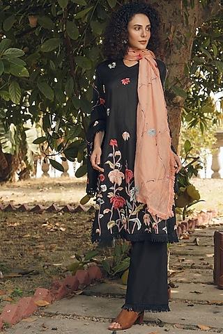 Black & Peach Embroidered Shirt Kurta Set by Oushk By Ussama Shabbir