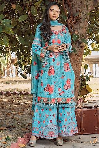 Blue Embroidered Shirt Kurta Set by Oushk By Ussama Shabbir