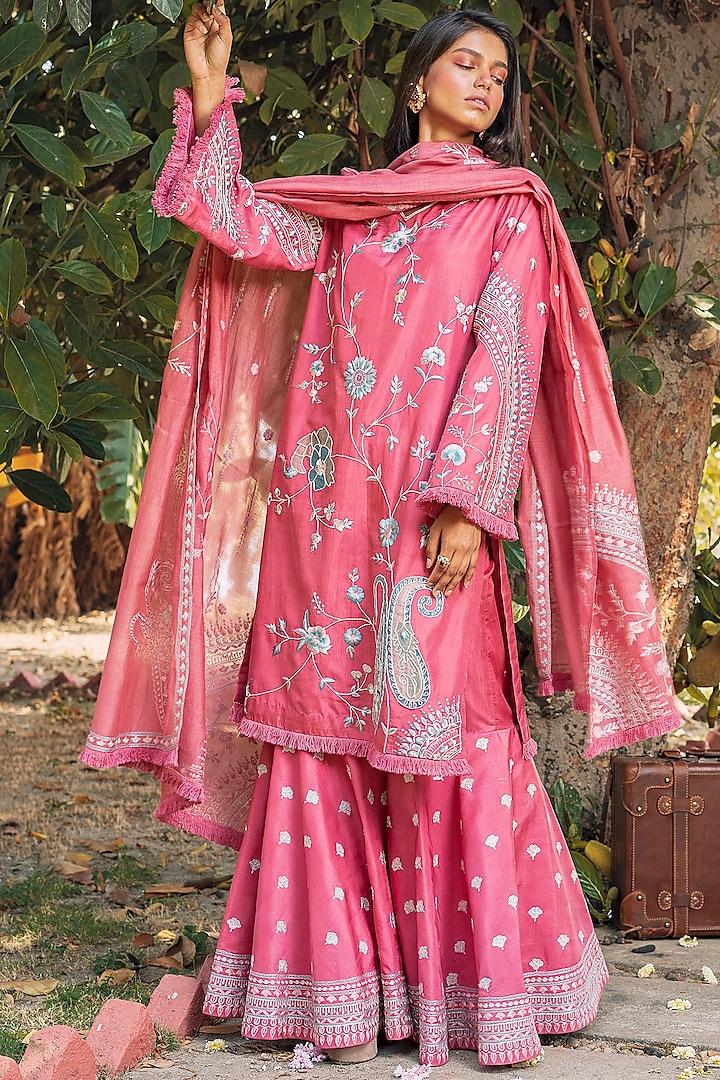 Pink Embroidered Shirt Kurta Set by Oushk By Ussama Shabbir