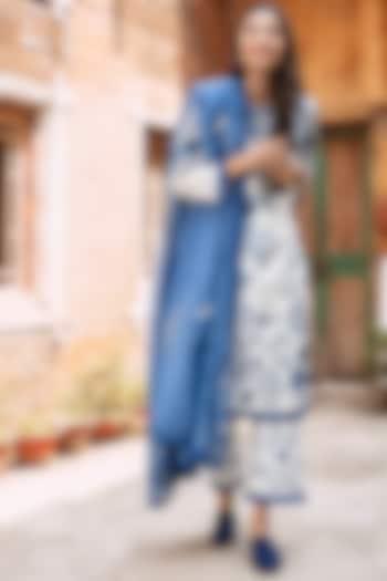 White & Blue Embroidered Shirt Kurta Set by Oushk By Ussama Shabbir