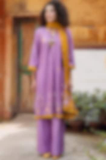 Purple & Mustard Embroidered Shirt Kurta Set by Oushk By Ussama Shabbir