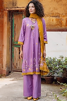 Purple & Mustard Embroidered Shirt Kurta Set by Oushk By Ussama Shabbir-OUSHK BY USSAMA SHABBIR