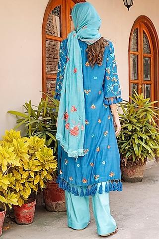 Blue Thread Embroidered Shirt Kurta Set by Oushk By Ussama Shabbir
