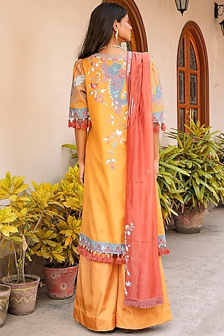 Mustard & Cherry Red Embroidered Shirt Kurta Set by Oushk By Ussama Shabbir