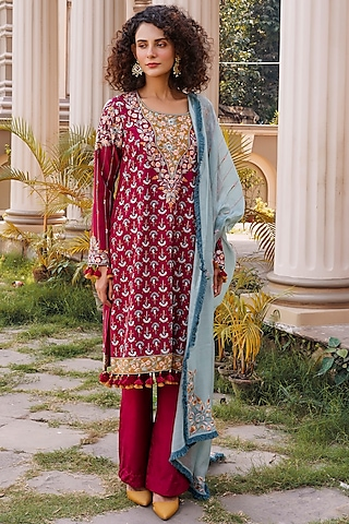 Cherry Red & Blue Embroidered Shirt Kurta Set by Oushk By Ussama Shabbir