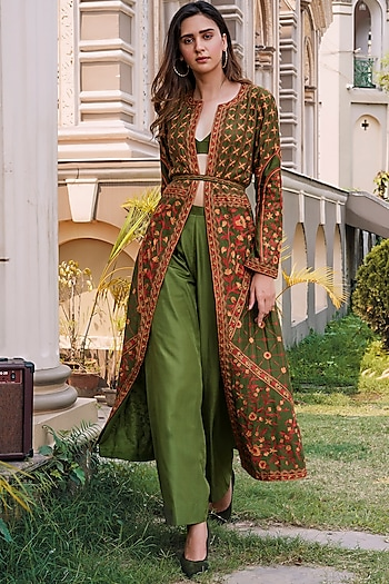 Green Embroidered Jacket Set by Oushk By Ussama Shabbir