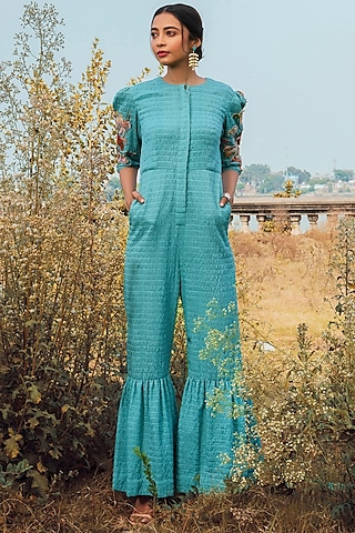 Blue Hand Embroidered Jumpsuit With Pockets by Oushk By Ussama Shabbir