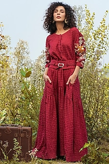 Cherry Red Embroidered Dress With Crochet Belt by Oushk By Ussama Shabbir-OUSHK BY USSAMA SHABBIR